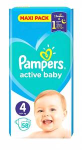 Pampers Active Baby Dry Maxi No4 (8-14kg) 58τμχ