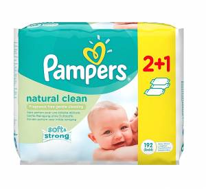Pampers Μωρομάντηλα Natural Clean 3 πακέτα 192 μωρομάντηλα
