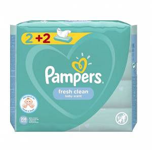 Pampers Μωρομάντηλα Fresh Clean 4X52 (2+2)