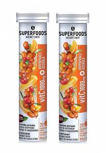 Superfoods Vitamin C 1000mg Ιπποφαές & Ασερόλα 1+1 ΔΩΡΟ